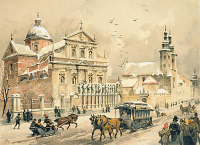 Wintry Drawing - Church Of St Peter And Paul In Krakow by Stanislawa Kossaka