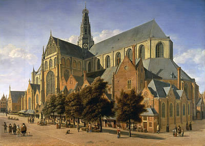 Church Of St. Bavo In Haarlem, 1666 Oil On Panel Art Print by Gerrit Adriaensz Berckheyde
