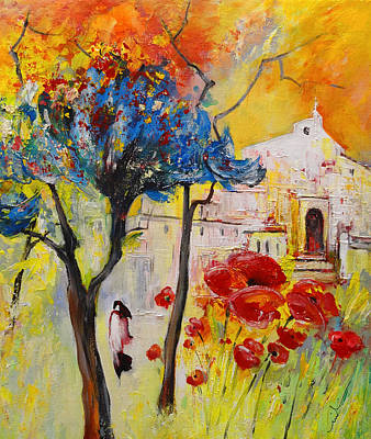 Church Of The Blood Red Poppies Original by Miki De Goodaboom