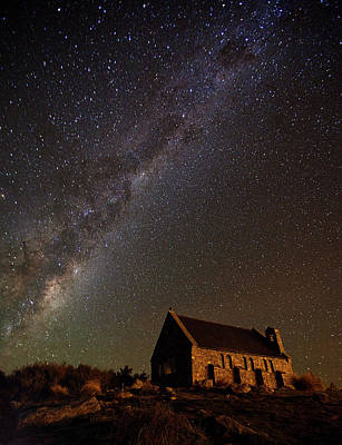 Milky Way Wall Art - Photograph - Church Of The Good Shepherd by Yan Zhang