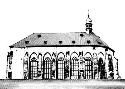 Prague Drawings Digital Art - Church Of The Virgin Mary Of Snow by Michal Boubin