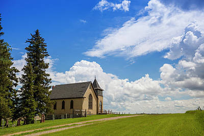 Green Cemetery Road Photograph - Church On A Hill In A Rural Setting by Susan Dykstra