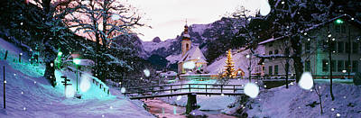Rothenburg Photograph - Church On A Snow Covered Hill by Panoramic Images