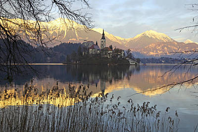 American Milestones - Church on Bled Island at sunset by John Keates