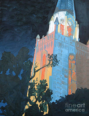 Church On Boston Avenue At Night Original by J Ethan Hopper