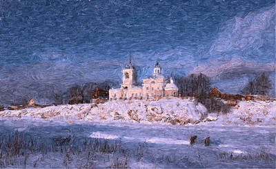 Digital Art - Church On Ice River by Yury Malkov