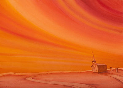 Big Skies Painting - Church On The Edge by Scott Kirby