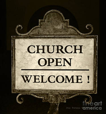 Photograph - Church Open Welcome Sign by John Stephens