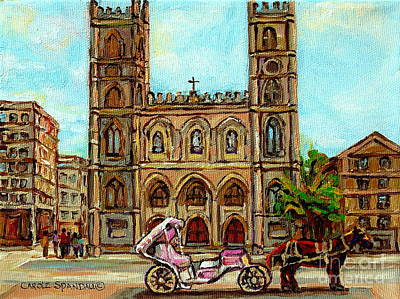 Painting - Church Paintings Old Montreal Notre Dame Basilica Cspandau Heritage Montreal Artist City Scenes  by Carole Spandau