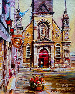 Rue Notre Dame Painting - Church Paintings Old Montreal Sailor's Chapel Rue St Paul Eglise Bonsecours Carole Spandau by Carole Spandau