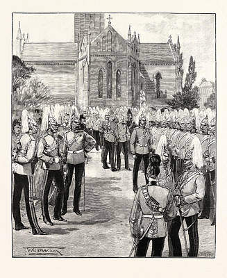 Church Parade Of The Household Cavalry At Windsor Uk Print by English School