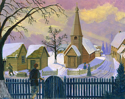 Snowscape Painting - Church Planting by Todd Hatchett