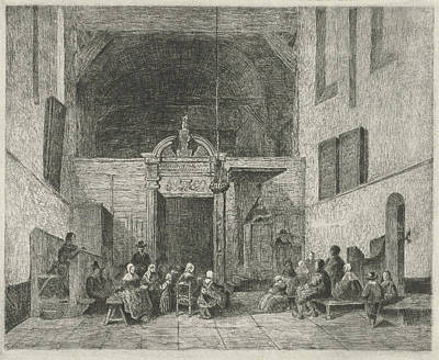 Church Service In A Village Church, Print Maker Eberhard Art Print