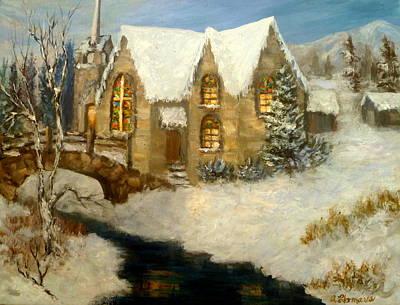 Church Snow Paintings Art Print