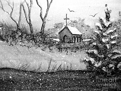 Painting - Church Snow Scene by Gretchen Allen