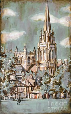 Cambridge Painting - Church Spire by Leigh Banks