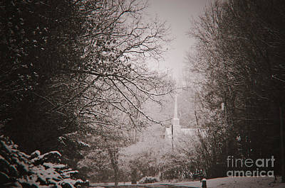 Photograph - Church Steeple In The Snow by Debra Crank