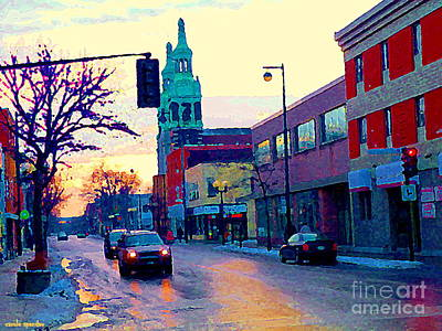 Church Street In Winter Melting Snow Sunset Reflections Montreal Urban City Landscape Scene Cspandau Art Print by Carole Spandau