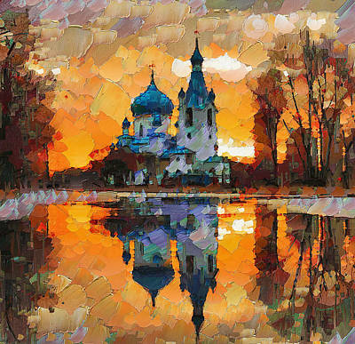 Moscow Digital Art - Church Sunset by Yury Malkov