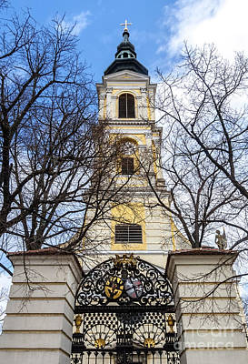 Photograph - Church Tower With Wrought Iron Gate  Grossweikersdorf Austria by Menega Sabidussi