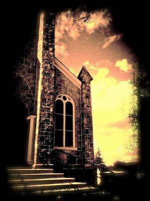 Digital Art - Church Vignette Against Sky by Maggie Vlazny