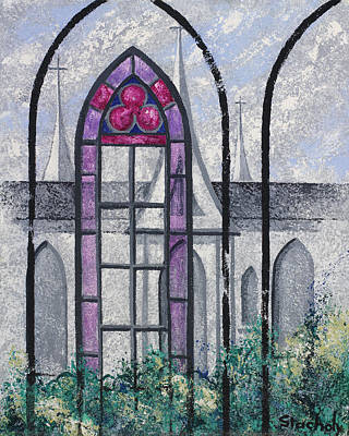 Art Print featuring the painting Church Window by Artists With Autism Inc