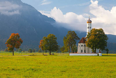 Neuschwanstein Castle Photograph - Church With A Castle In The Background by Panoramic Images