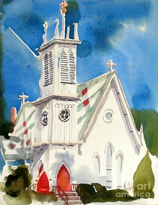 Church With Jet Contrail Original by Kip DeVore