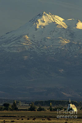 Photograph - Church With Mount Shasta by Jim Corwin