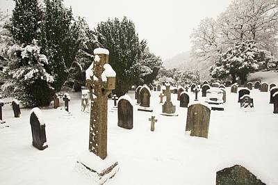 Grave Yard Photograph - Church Yard In Snow by Ashley Cooper