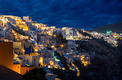Photograph - Churches Of Oia Village At Dusk At Santorini by Gurgen Bakhshetsyan