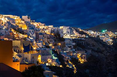 Photograph - Churches Of Oia Village At Dusk At Santorini by Gurgen Bakhshetsyan