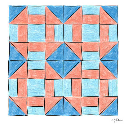 Block Quilts Painting - Churn Dash - 4 Up by Sandy MacGowan