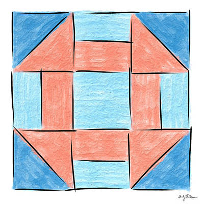 Block Quilts Painting - Churn Dash Block by Sandy MacGowan