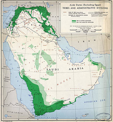 Cia Painting - Cia Map Of Arab States 1947 by MotionAge Designs