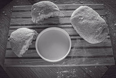 Photograph - Ciabatta Bread Bw by Wayne Meyer