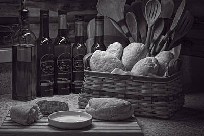 Photograph - Ciabatta Bread And Basket Bw by Wayne Meyer