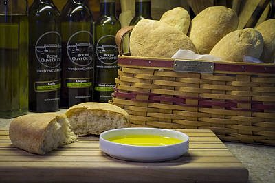 Photograph - Ciabattabread Olive Oil And Basket by Wayne Meyer