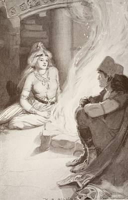 Talking Drawing - Cian Finds Balors Daughter by Harold Robert Millar
