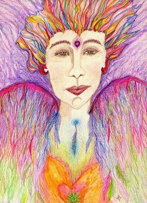 Chakra Drawing - Cianna - The Angel Of Creative Power by Lily Diamond