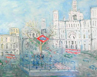 Cibeles Square Art Print by Guillermo Serrano de Entrambasaguas