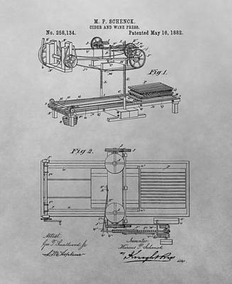 Grape Drawing - Cider And Wine Press Patent Drawing by Dan Sproul