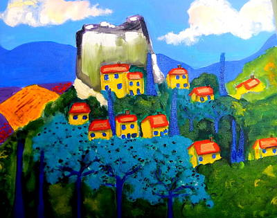 Hill Top Village Painting - Ciel Bleu by Rusty Woodward Gladdish