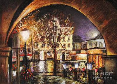 Nature Center Painting - Cieszyn At Night by Dariusz Orszulik