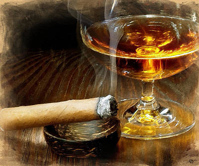 Cognac Painting - Cigar And Cordial Painting by Tony Rubino