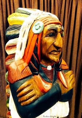 Western Art Digital Art - Cigar Store Indian by Barbara Snyder