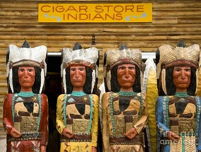 Indian Painting - Cigar Store Indian Statues by Vincent Monozlay