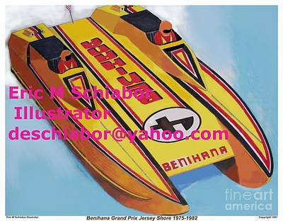 Cigarett Power Boat Illustration Art Print by Eric  Schiabor