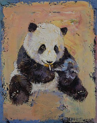 Panda Bear Painting - Cigarette Break by Michael Creese