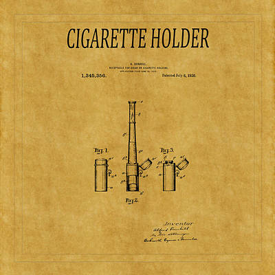 Cigarette Holder Patent 1 Art Print by Andrew Fare